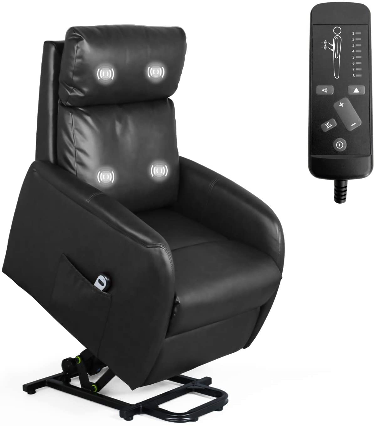 Recliner Chair for Living Room Power Lift Massage Recliner Chair for Elderly Modern Recliner Sofa Home Theater Seating Office Massage Recliner Sofa Leisure Lounge with Side Pocket PU Leather (Black)