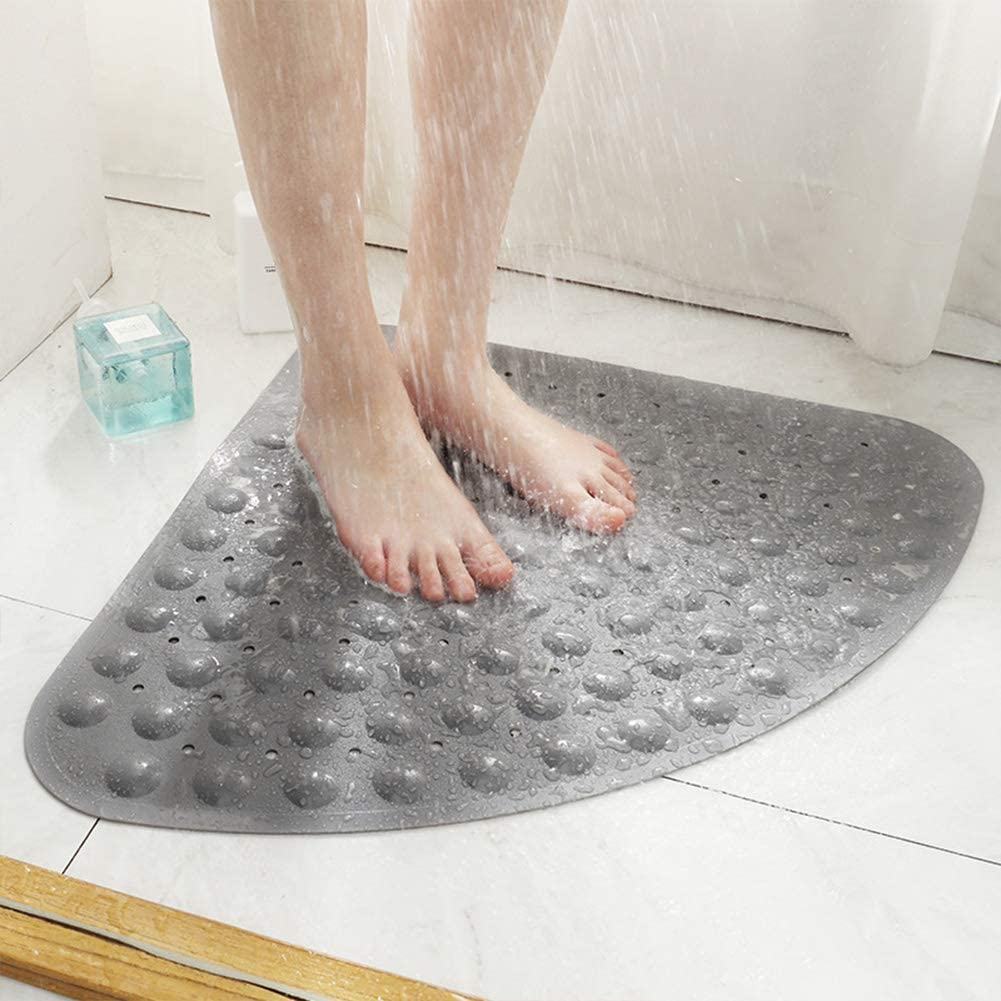 Eanpet Bath Mat Non-Slip Tub Shower Mats Bathtub Mat for Adult Kids, Machine Washable (Triangle, 28 x 28 Inch, Grey)