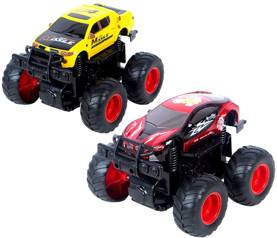 EPFamily 2 Pack Monster Trucks Toy Set for Boys, Upgraded Friction Powered Pull Back Vehicles, Gift for Boys Girls Ages 3+, Red and Yellow