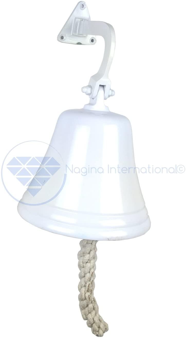 Nagina International Navy's Nautical Ship's Aluminum Cast Premium Bell   Nursery Decor Gifts (7 Inches, White)