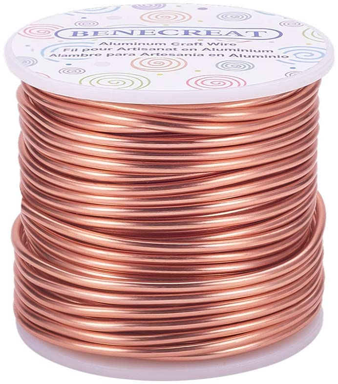BENECREAT 10 Gauge Jewelry Craft Aluminum Wire 80 Feet Bendable Metal Sculpting Wire for Craft Floral Model Skeleton Making (Copper, 2.5mm)