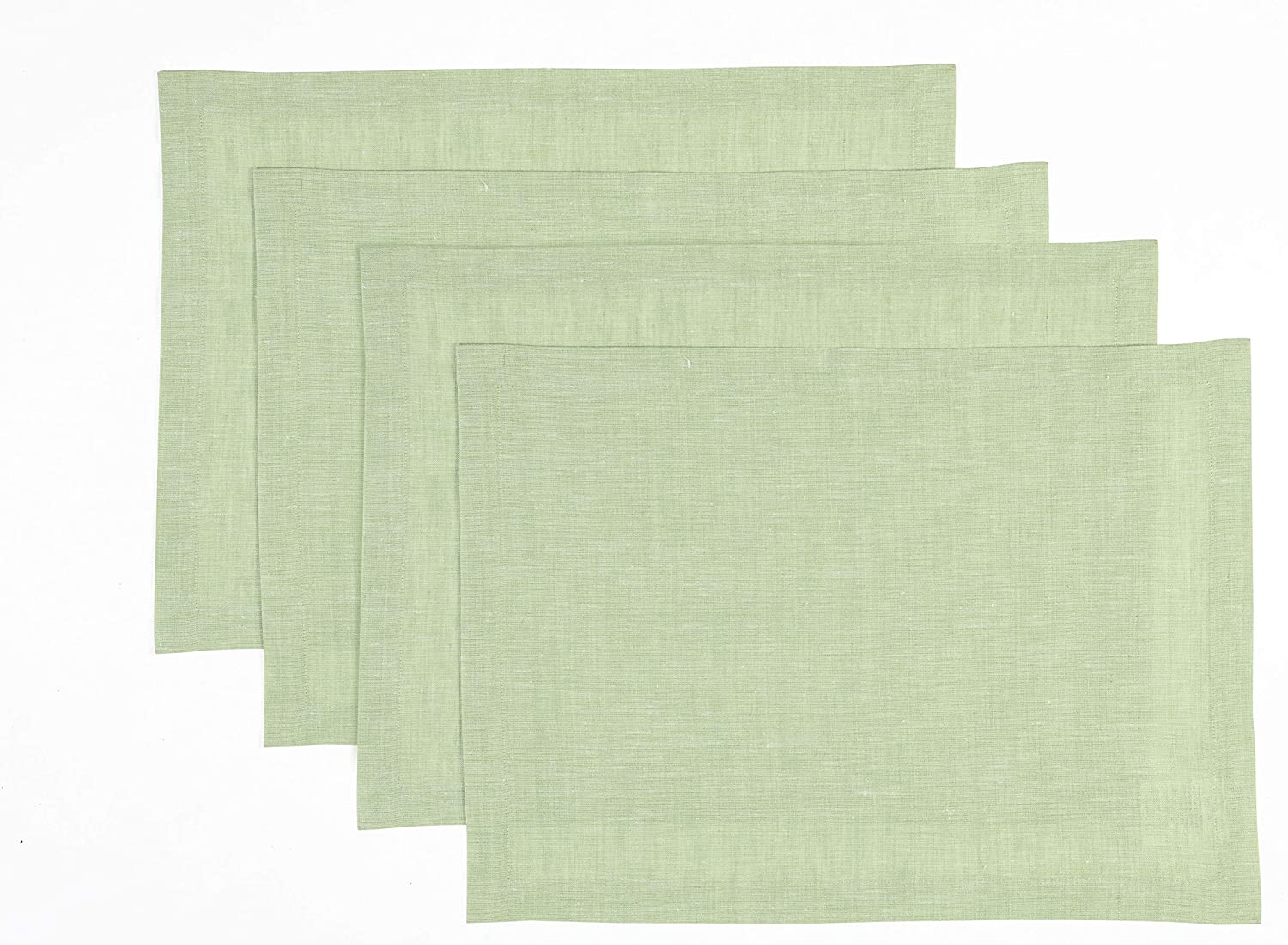 Solino Home Pure Linen Placemats - Green, 14 x 19 Inch Set of 4 Athena - 100% Pure Linen Natural Fabric - Handcrafted Machine Washable