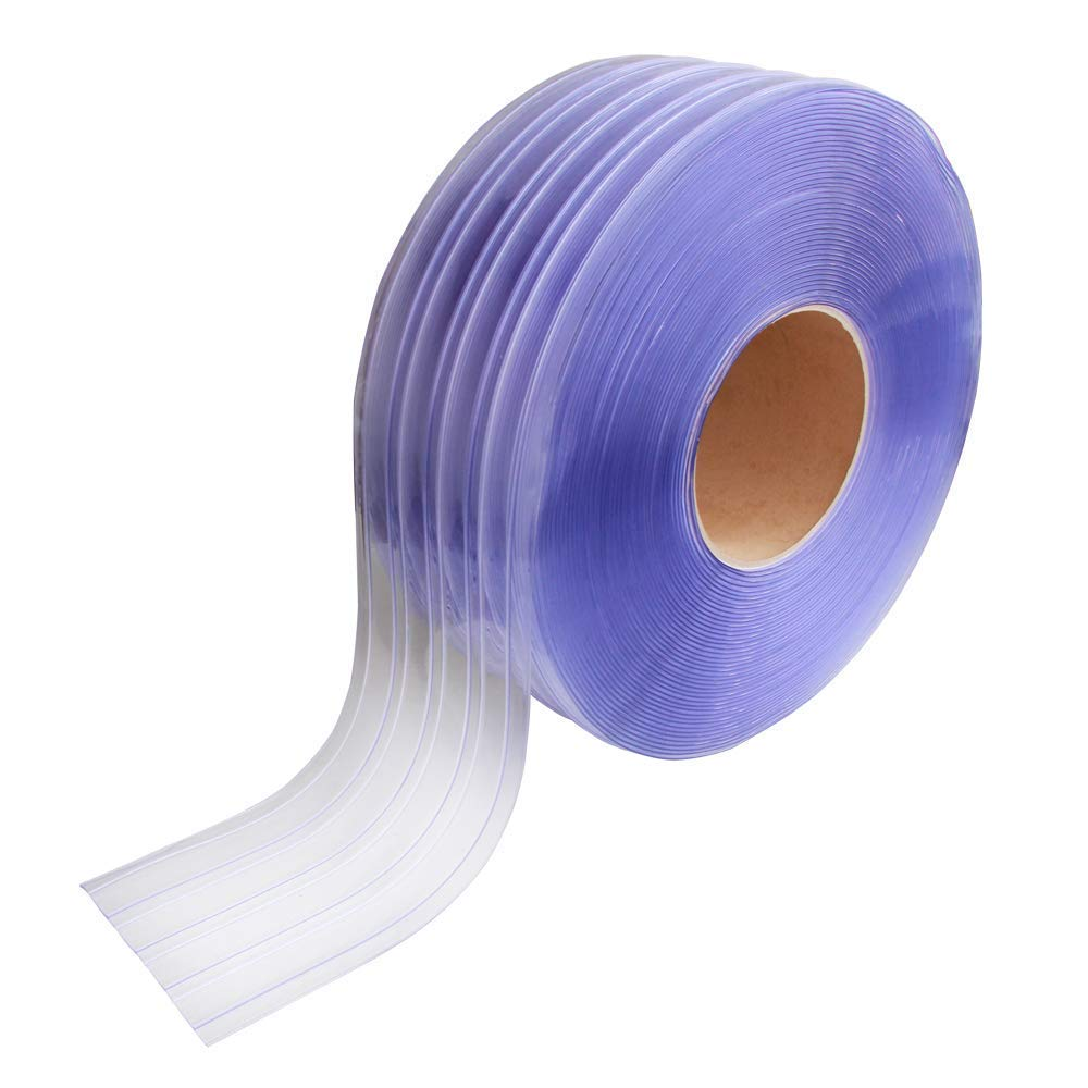 VIZ-PRO Standard Ribbed PVC Curtain Strip Door Bulk Roll, 101' Length x 7.8