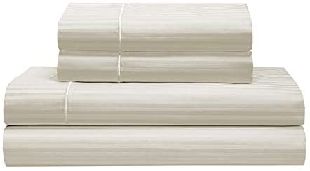 SETTLE IN 600 Thread Count Silky Soft Luxury Cotton Sheet Set - Dobby Striped or Solid