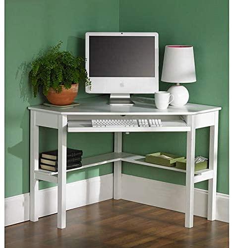 White Birch Corner Desk Transitional MDF Veneer Wood Painted Keyboard Tray Shelves