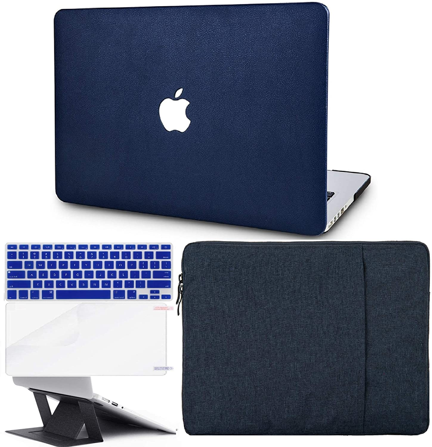 KECC Laptop Case for MacBook Air 13 w/Keyboard Cover + Sleeve + Screen Protector + Laptop Stand (5 in 1 Bundle) ltalian Leather Case A1990/A1707 (Dark Blue Leather)