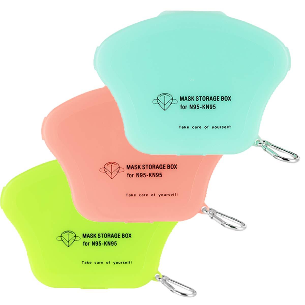 3Pcs Mask Storage Clip Holder Face Masks Case Foldable Storage Bag Portable Plastic Mask Storage Box Disposable Face Masks Organizer Dustproof Storage Box for Mask Pollution Prevention Set