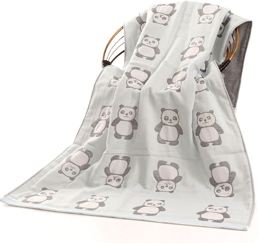 ANswet Bath Towel, 3-Layer Jacquard Decorative Bath Towel, 100% Cotton, Super Soft, Quick-Dry, Luxury Bath Sheet 27.5x55 inch (Cyan Panda)