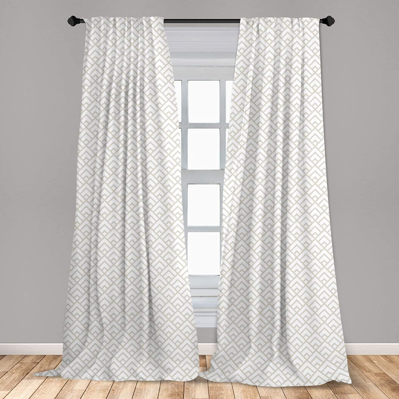 Lunarable Geometric Window Curtains, Geometric Diamond Tile Pattern Minimal Style Boho Grid with Triangles, Lightweight Decorative Panels Set of 2 with Rod Pocket, 56