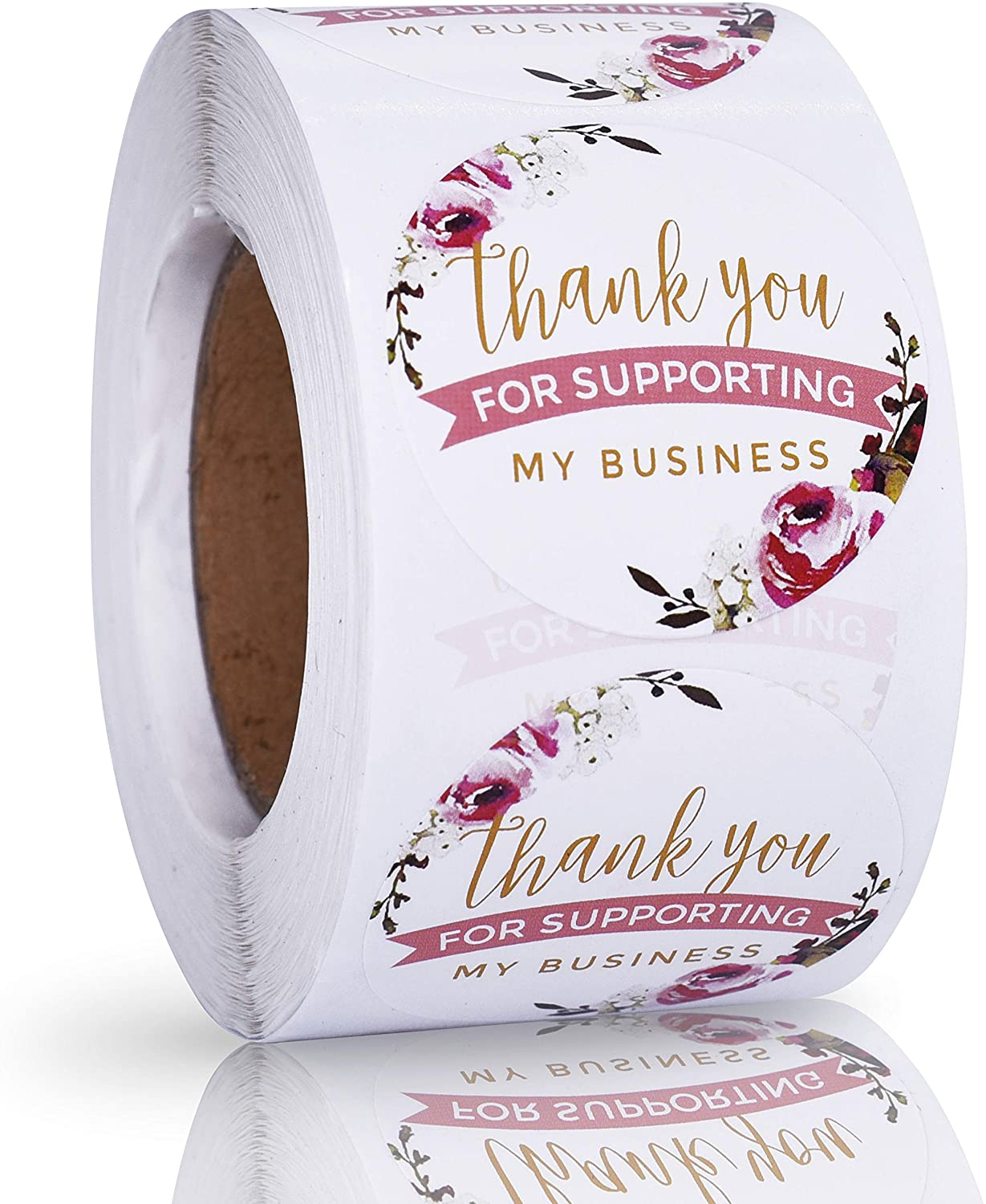 1.5 Round Thank You for Supporting My Business Stickers Labels Roll 500 Labels Per Roll