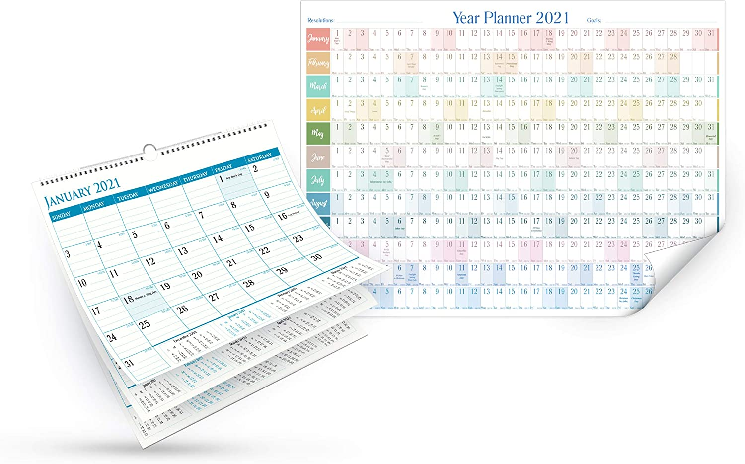Calendar 2021 and Planner -Set of 2 Calendars, Monthly and Yearly Wall Calendar and Planner with Julian Dates, Long weekends and Holidays. Thick Paper Calendar Perfect for Organizing & Planning Events