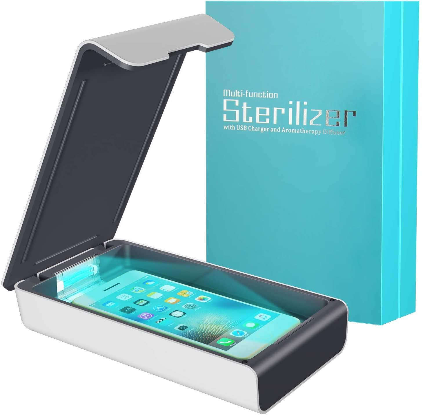 Phone Sanitizer, Portable UVC Sterilize Box with Aromatherapy Function for Smartphone Cleaner, Clinically Proven UV Light Disinfector-White