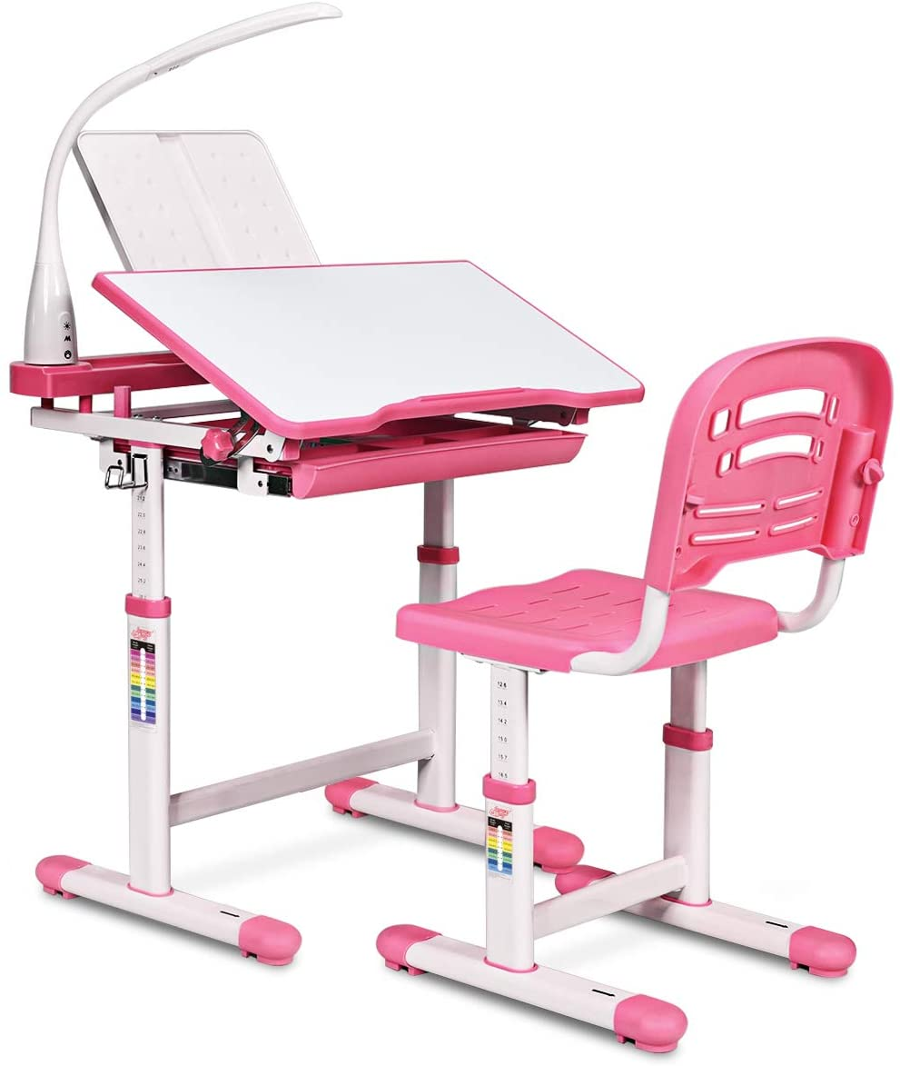 HONEY JOY Kids Desk and Chair Set, Height Adjustable Table with Tilting Desktop, LED Light, Book Stand, Storage Drawer and Metal Hook, Multifunctional School Study Workstation for Children (Pink)