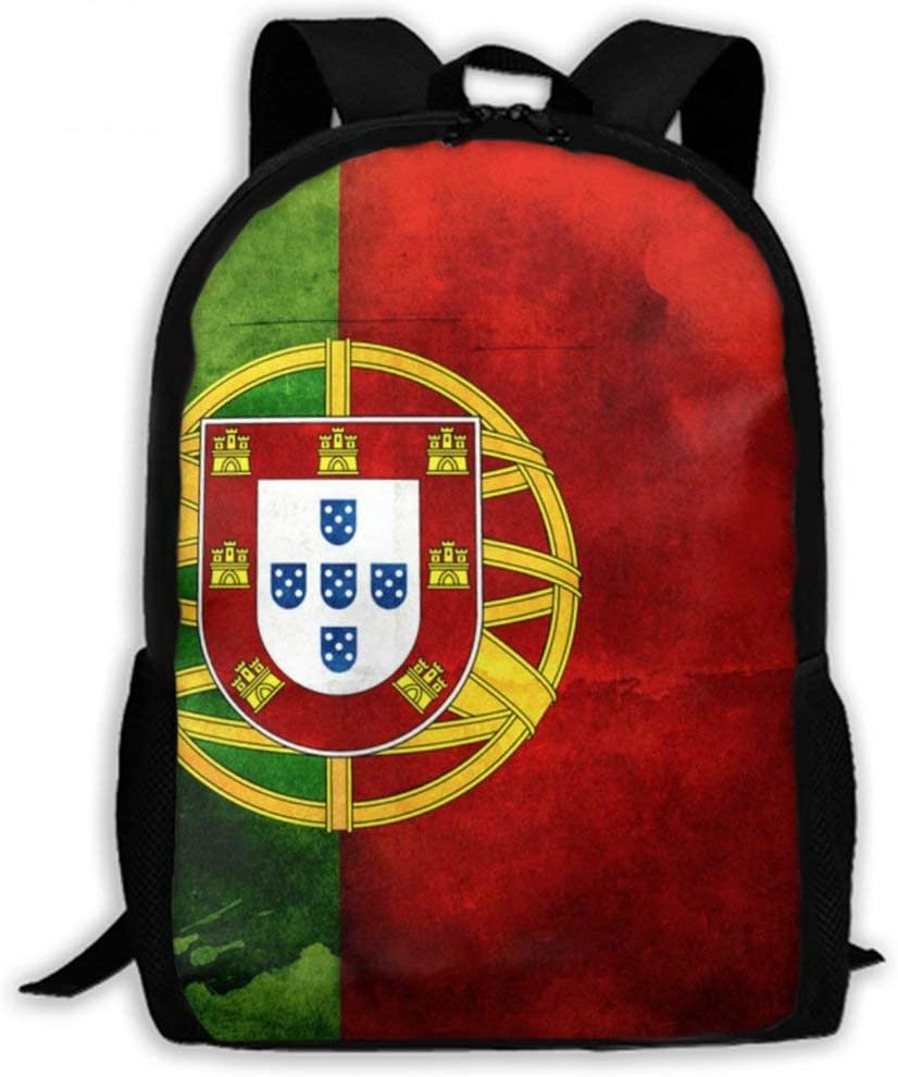 NiYoung Women Men Boys Girls School Daypack Backpacks Casual Lightweight Durable Laptop Backpack for School Business Hiking Camping Travel, Portugal Flag Art Green Red