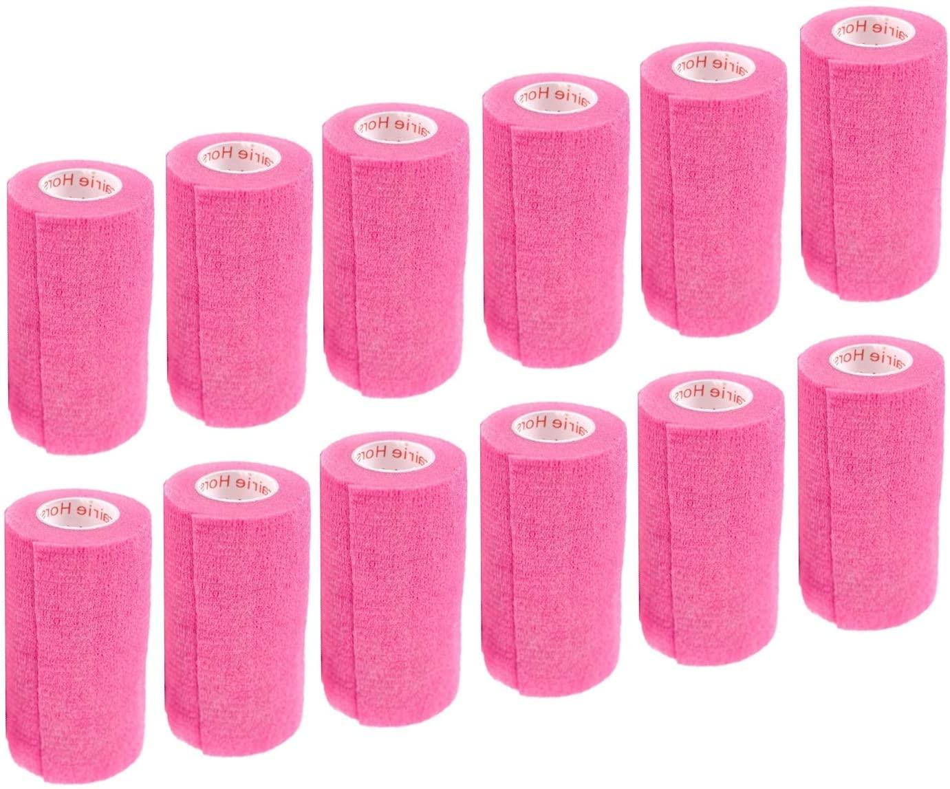 3 Inch Vet Wrap Tape Bulk (Assorted Colors) (6, 12, 18, or 24 Packs) Self-Adhesive Self Adherent Adhering Flex Bandage Rap Grip Roll for Dog Cat Pet Horse …