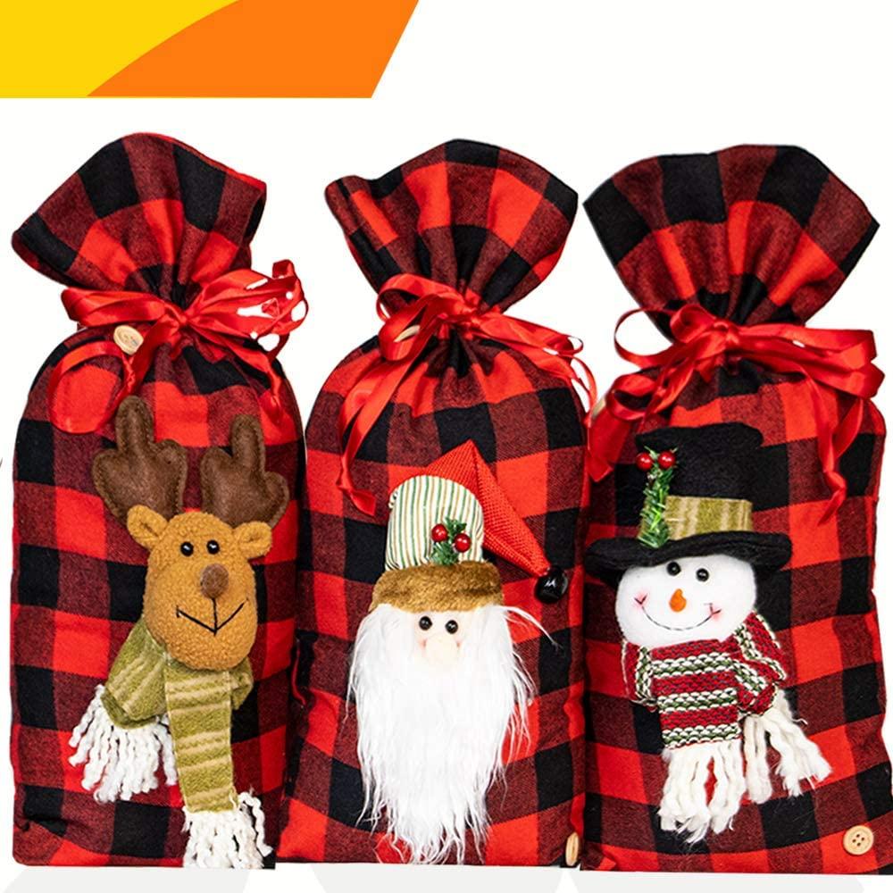 Jolik Santa Sacks Drawstring Christmas Bags, Buffalo Plaid 3D Design Christmas Bags for Christmas Party Supplies, 18 x 10 inch