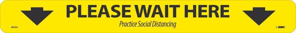 NMC WFS81 PLEASE WAIT HERE SHOPPING ARROW, Black on Yellow, WALK ON FLOOR SIGN, 2.25 X 20, PRESSURE SENSITIVE VINYL NON-SLIP, SOCIAL DISTANCING