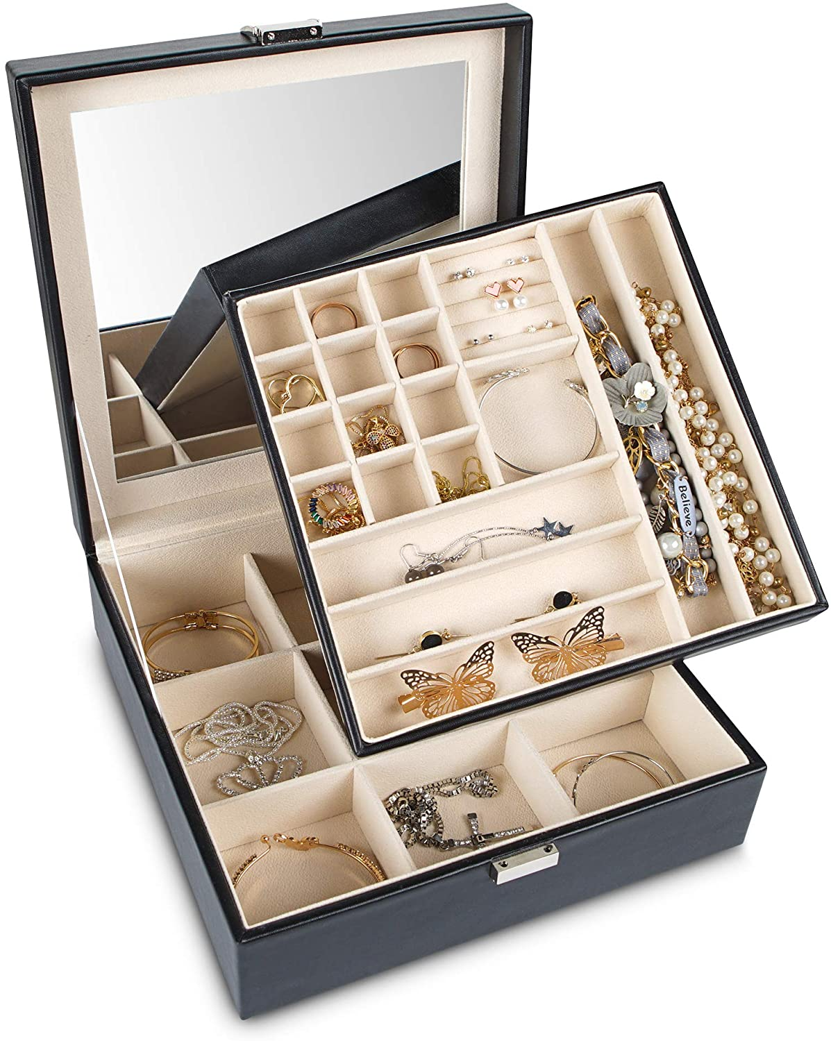 Frebeauty Jewelry Organizer Box 2-Layer Jewelry Box Organizer Storage Display with Lock and Built-In Mirror Travel Jewelry Holder with Multiple Compartments Gift for Women (Black)