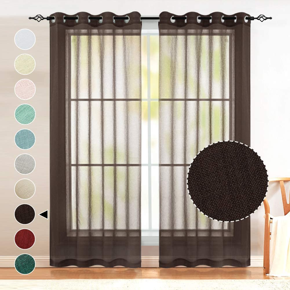 Brown Sheer Curtains 63 Inch Length, Privacy Assured Sheer Textured Flax Voile Curtain Draperies Light Filtering Soft and Durable, Nickel Grommet Window Treatment 2 Panels (52