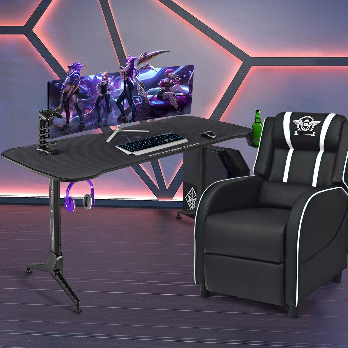 Tangkula Gaming Desk and Sofa Chair Set, Electric Competition Sofa & Gamer Table Set, Racing Style Ergonomic Sofa w/Gaming Table, 8-Mode Massage, Timing Function, Ideal for Home and Office (White)