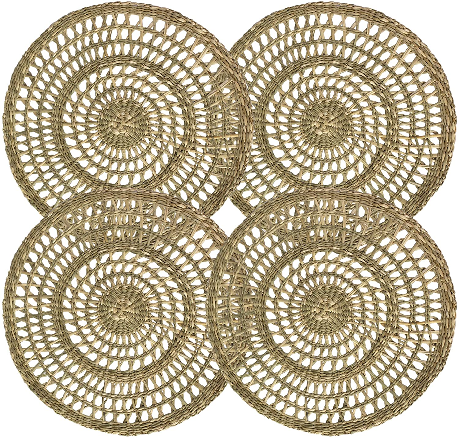 Set of 4 Pack Woven Placemats for Dining Table, Round Braided Place Mat Handmade Natural Seagrass Wicker Placemat Heat Resistant Hot Insulation Anti-Skidding Non-Slip (Natural)