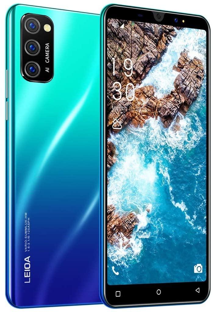 2020 New -Smartphone,Unlocked Cell Phone 5 inch Ultrathin HD Display 3800mAh Battery 1GB+16GB ROM Dual SIM 3G Mobile Phone Factory Unlocked Face ID, Fingerprint, Gradient (Blue)