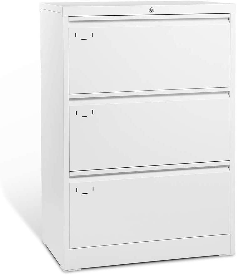 3 Drawer Lateral File Cabinet with Lock, Full Metal Filing Cabinet for Home and Office, Stainless Steel, 30 L x 17.7 W x 40 H, Antique White