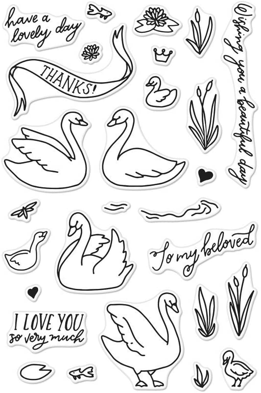 Hero Arts Stamps Swans & Cattails, Multicolor