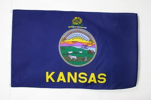 AZ FLAG Kansas Flag 3' x 5' - US State of Kansas Flags 90 x 150 cm - Banner 3x5 ft
