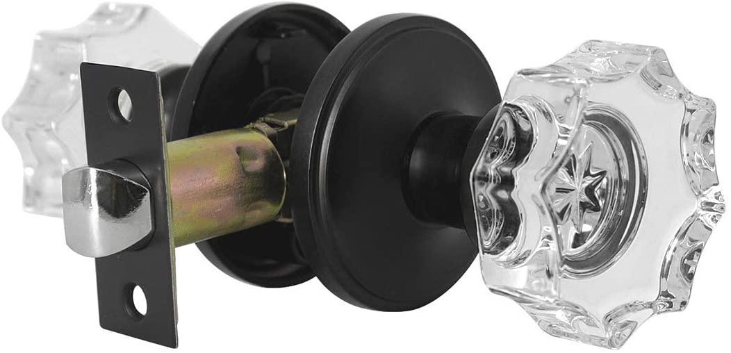 1 Pack Octagon Glass Door Knobs Crystal Style with Black Rose, Passage Doorknob Keyless Door Handle Interior(Hall/Closet),Flower Shape Handle