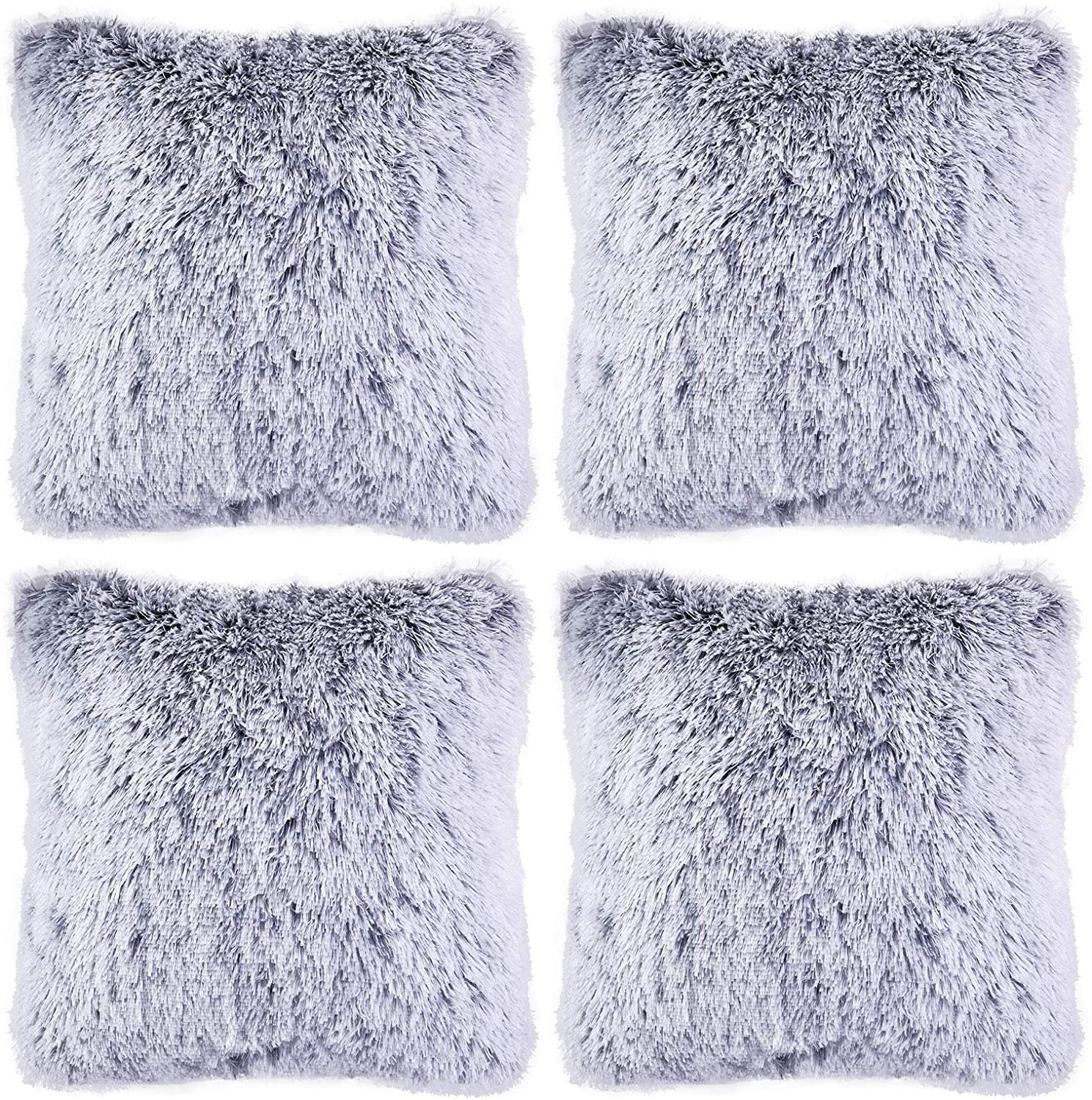 Aneco Pack of 4 18 x 18 Inches Faux Fur Throw Pillow Covers Decorative Square Pillow Covers Faux Fur Cushion Covers for Home Decoration, Gray Ombre