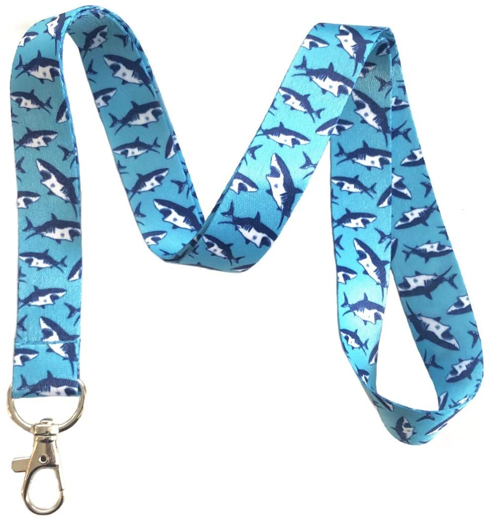 Shark Pattern Lanyard Key Chain Id Badge Holder