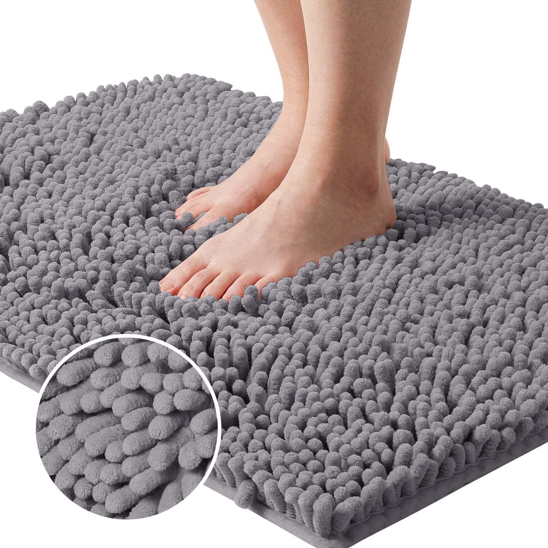 HOMEIDEAS 2X Absorbent Grey Bathroom Rug Non Slip with Rug Pad,20