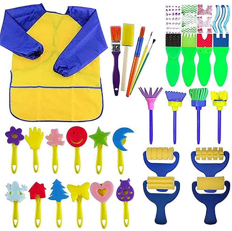 STEFORD Sponge Paint Brushes Kits for Toddlers,29PCS Kids Foam Sponge Art Painting Tool Kit Toddler Early Learning Toys Finger Paints Art Supplies