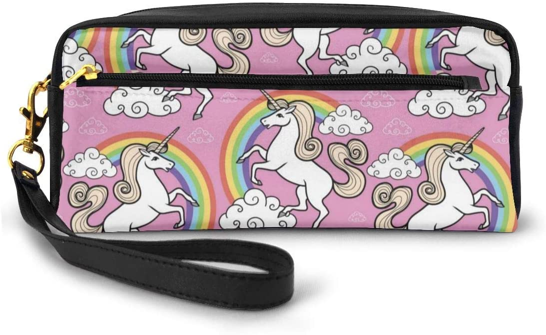 FeiHuang Leather Student Pencil Case Pink Rainbow Unicorn Pen Cosmetic Bag for Girls Makeup Pouch