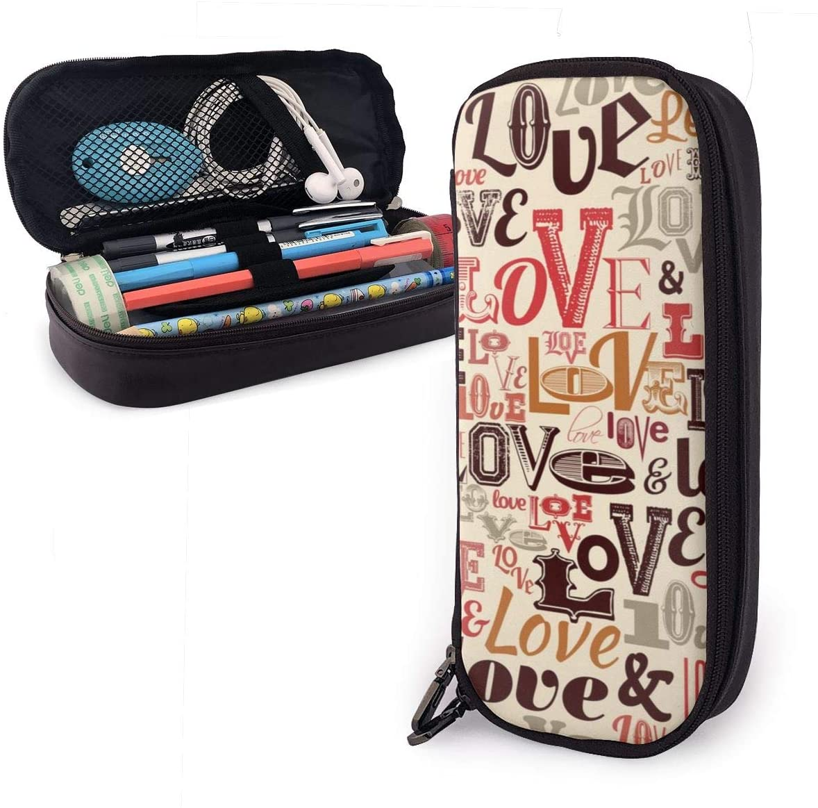 Polyester Vintage Love Pen Bag Pouch with Zipper One Pocket Pen Box Organizer for Office Supply Accessories for Teen Student Kids Artist Pen Organizer