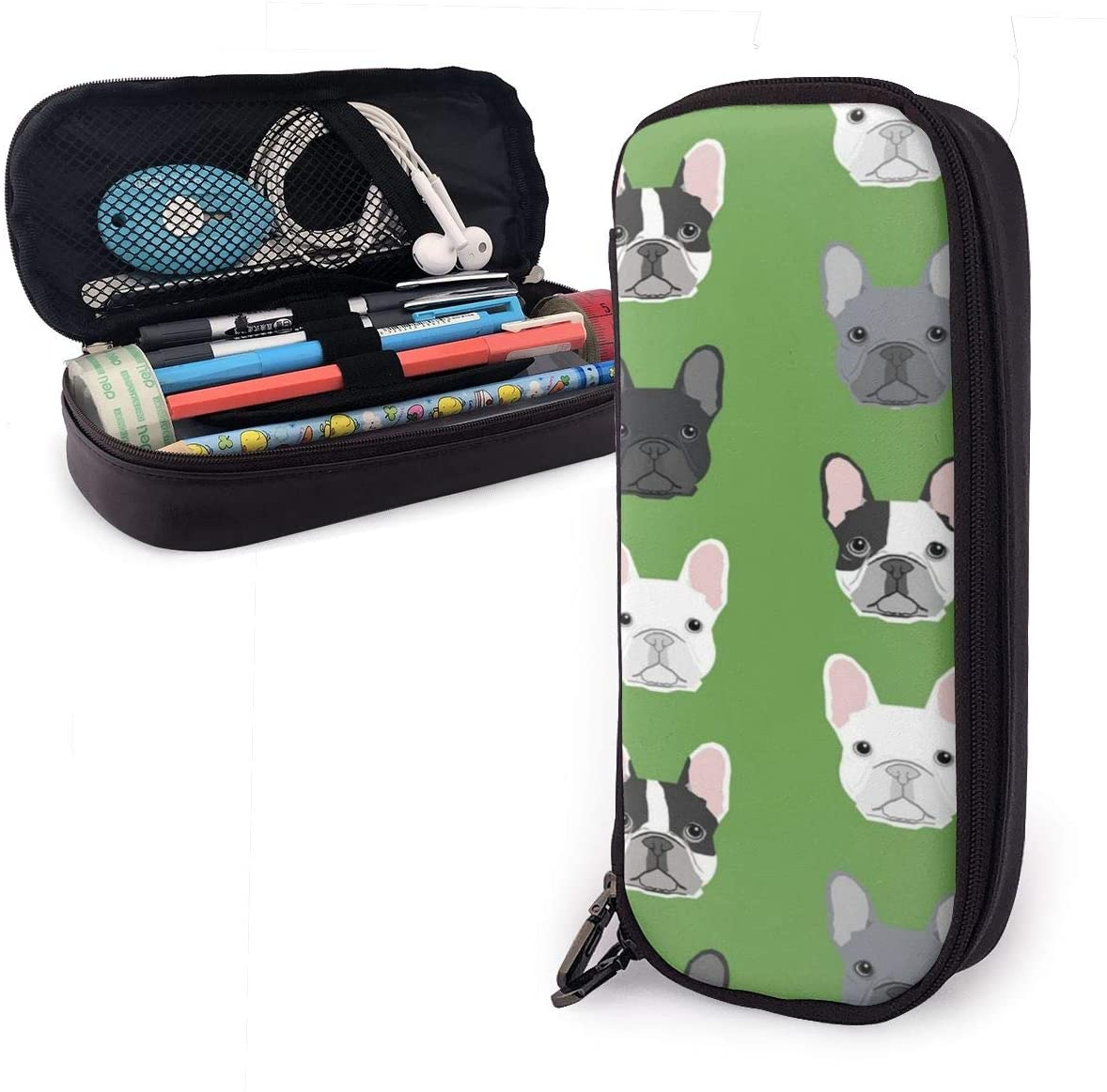 NiYoung Leather Pen Pencil Holder with Zipper, One Pocket Carrying Case for Office Supply Accessories for Teen Student Kids Painter, Green Frenchie Dog Pen Case Box