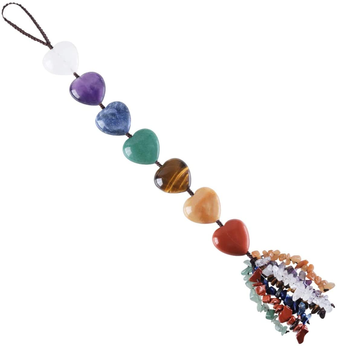 Nupuyai 7 Chakra Hanging Ornament Crystal Set for Home Indoor Decorations, Heart Stone Chips Tassel Feng Shui Wall Decor for Reiki Good Luck Yoga Meditation