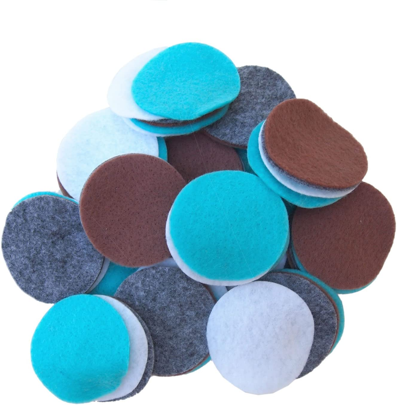 Playfully Ever After Charcoal Gray, Cocoa Brown, Turquoise Blue & White Craft Felt Circles (2.5 Inch - 48pc)
