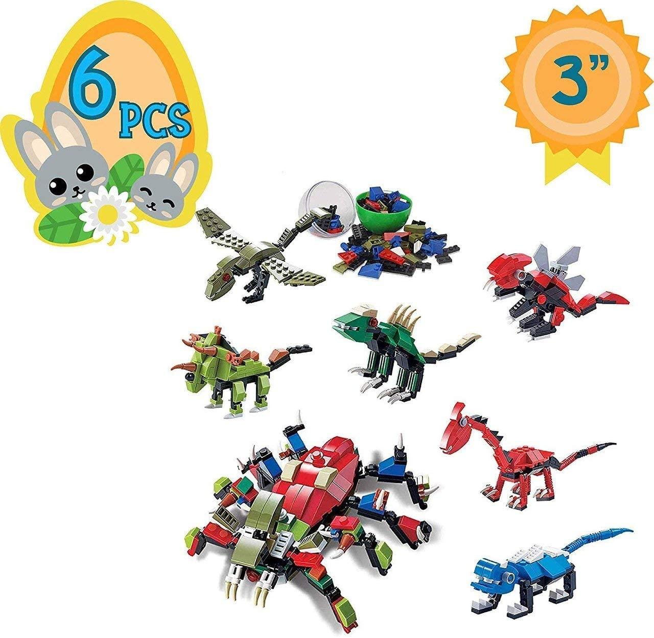 Totem World 6 Filled Easter Egg Building Toys - Dinosaur Set - Age 6-12 Learning Educational Inside 3