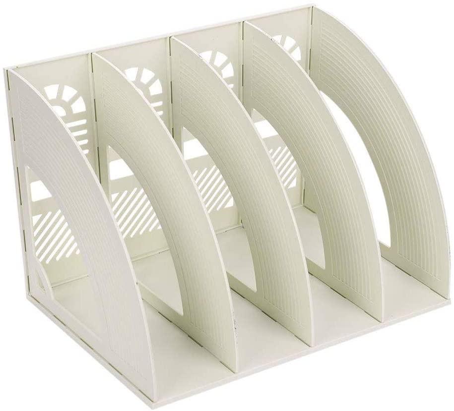 SAYEEC Sturdy Plastic 4 Section Maganize Holders Desktop File Folder Organiser Frames File Dividers Document Cabinet Rack Display Storage Organiser Box(Beige)