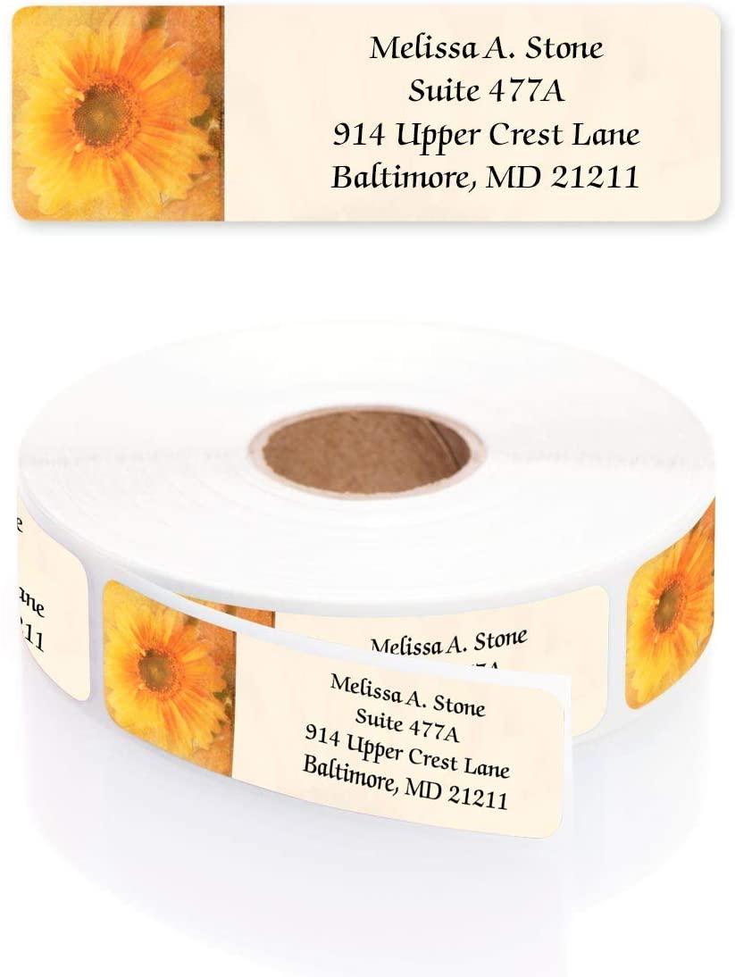 Golden Sunflower Designer Rolled Address Labels with Elegant Plastic Dispenser