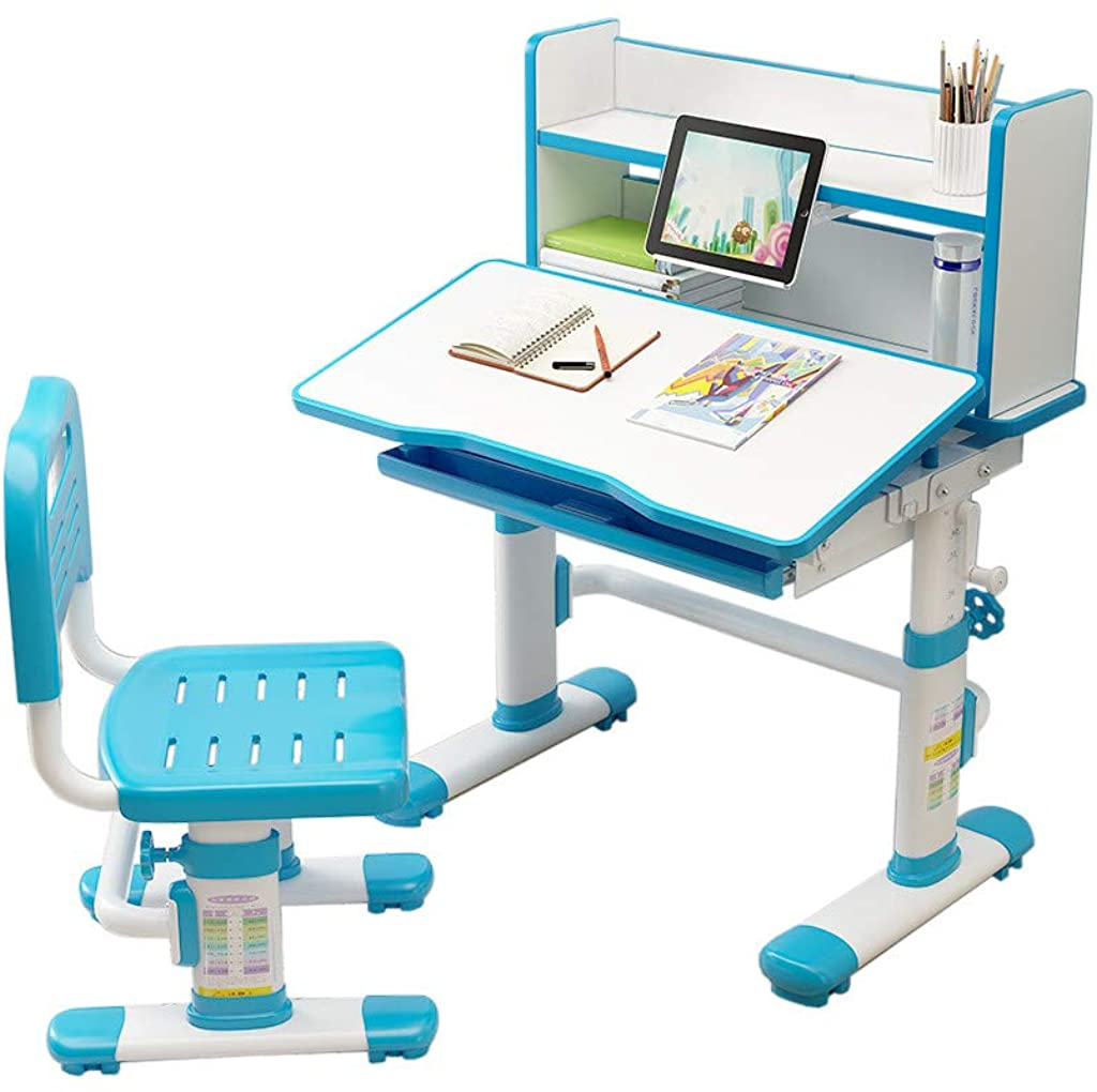 Goiwiejhg Height Adjustable Study Desk and Chair Set Pull Out Drawer with Tilted Desktop
