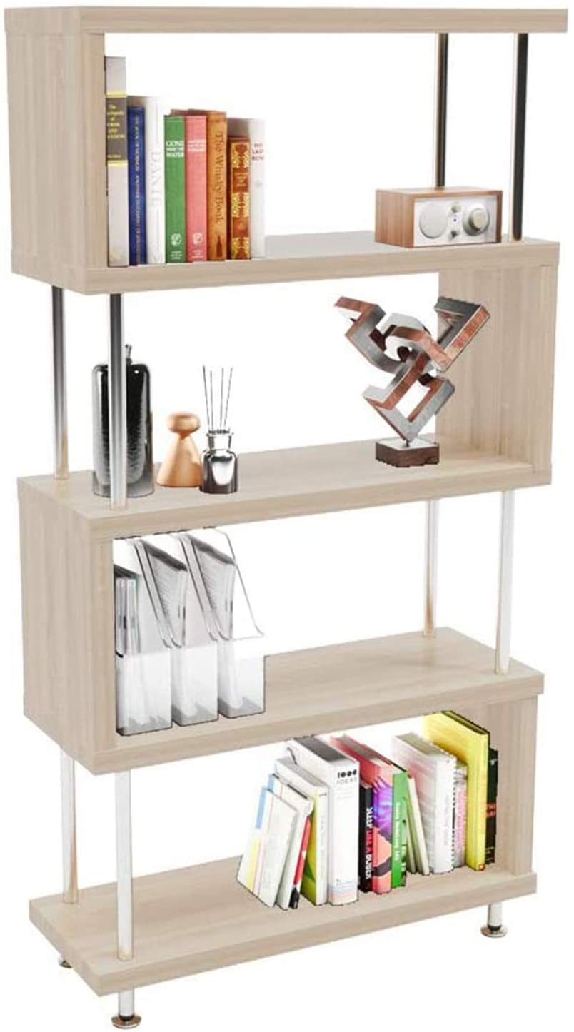 Jeamy House Shelf Unit Display Rack; S-Shaped 5-Shelf Wooden Etagere Bookshelf Stand Storage Organizer; Storage for Living Room Study Attic Office; Light Beige
