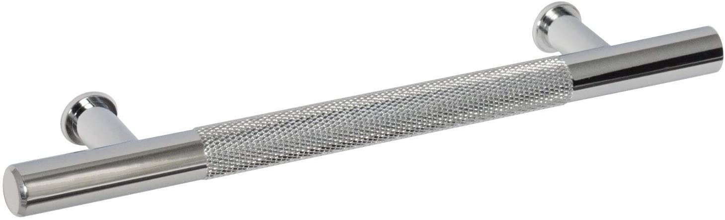 #1650-128 CKP Brand Linear Aluminum 5 in. (128mm) Knurled Pull, Polished Chrome - 10 Pack