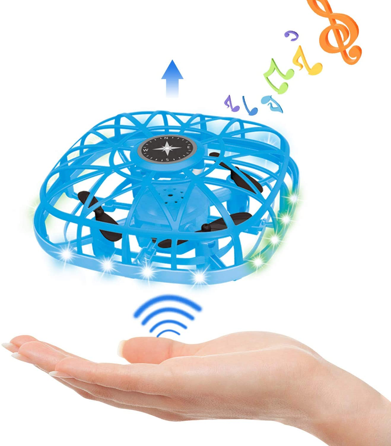 YongnKids Flying Ball Drones for Kids,Mini Drone Toys Gifts for Boys Girls 8 9 10 11 12 Year Old - Hand Free Operated Led Flashing Drone UFO Toys (Blue)