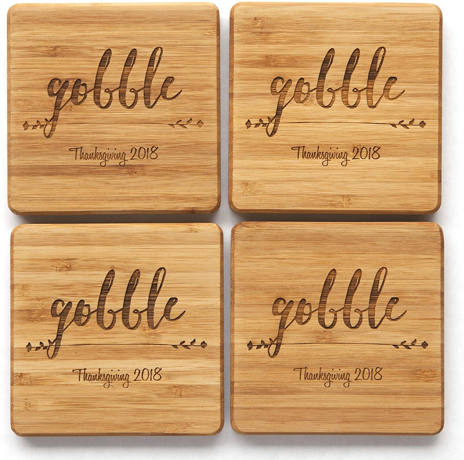 Personalized Wedding Gifts and Bridal Shower Gifts (Thanksgiving Gobble with Year Design) - Set of 6 Monogram Customized Wooden Coasters