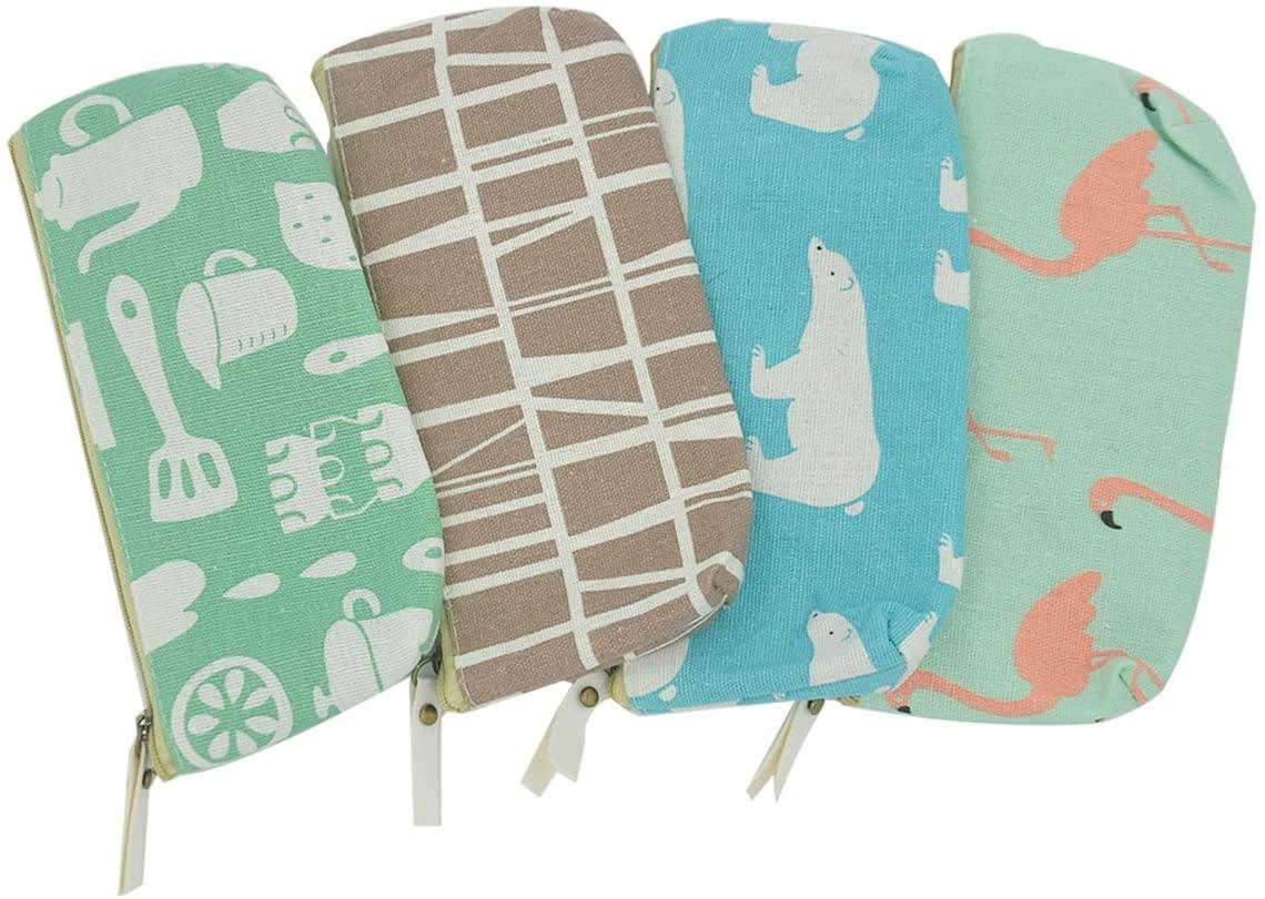 iSuperb 4 Pcs Cute Pencil Case Cotton Linen Pen Bag Zipper Large Capacity Stationery Organizer Storage Cosmetic Makeup Bag Pouch for Girls Women
