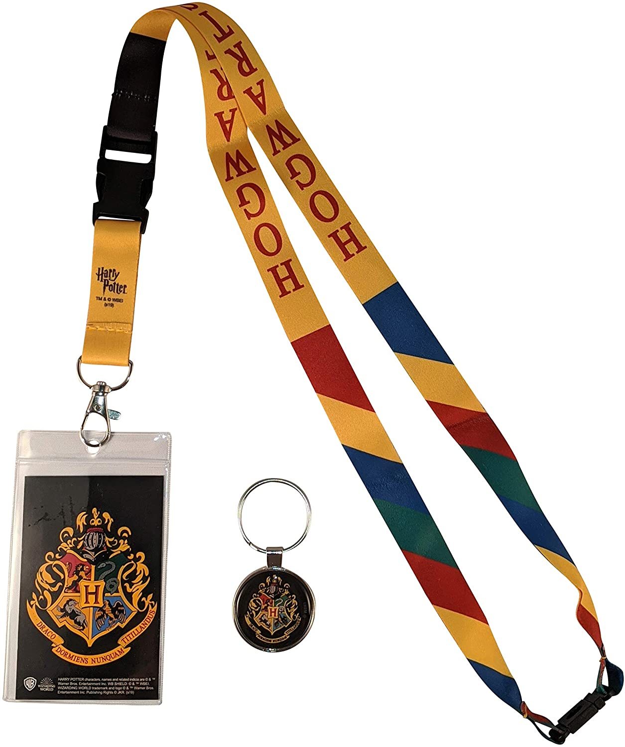 Harry Potter Hogwarts House ID Badge Holder Lanyard & Keychain Bundle (Hogwarts)