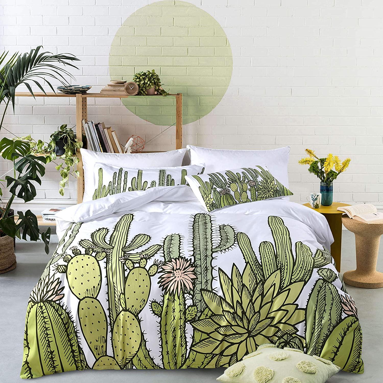 UniTendo 3 PC Cactus Bedding Green Art Printed Colorful Bright Cactus Duvet Cover SetWhite Bedding Sets Fiber Bedding Sets, King Size.
